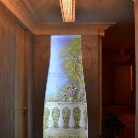 """balkon1 450x450 - Барельеф с росписью """"Балкон у озера"""""""