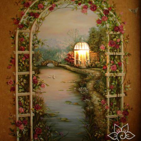 """Барельеф  с подсветкой в спальне """"Арка роз"""""""