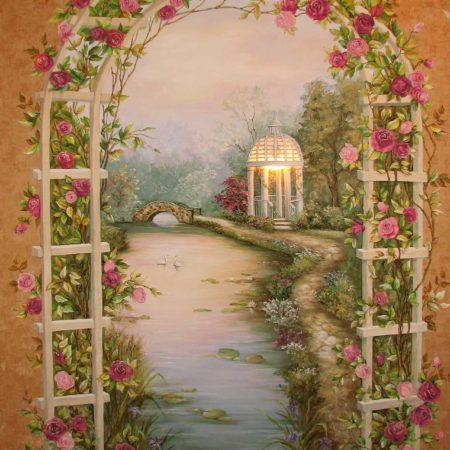 Барельеф с подсветкой в спальне Арка роз