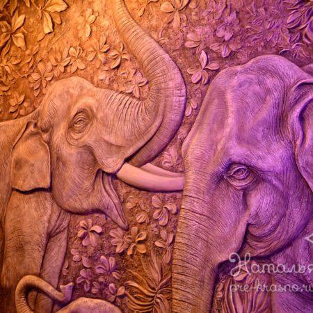 DSC 1874 450x450 - Декоративное панно «Слоны»