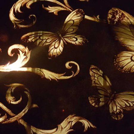 Стеклянное панно с подсветкой модерн бабочки орнамент