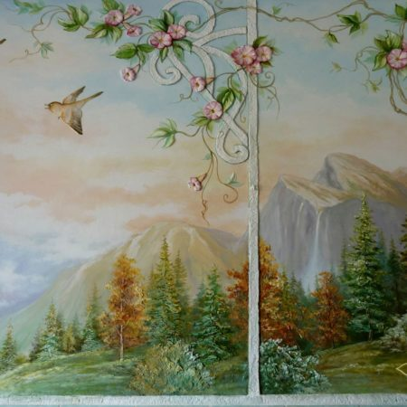 Барельеф стена кухня окно замок птицы