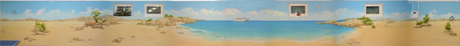 роспись стен пляж море песок корабль панорама
