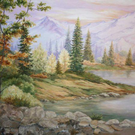 Роспись стены горы лес