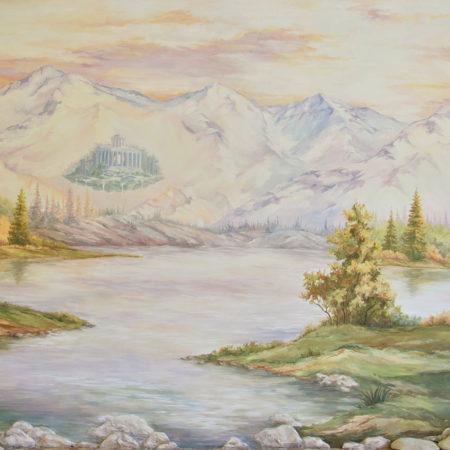 Роспись стены гора и лес река