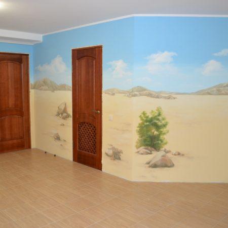 роспись стен пляж море песок корабль