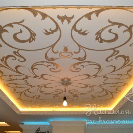 Роспись потолка с подсветкой, г. Люберцы