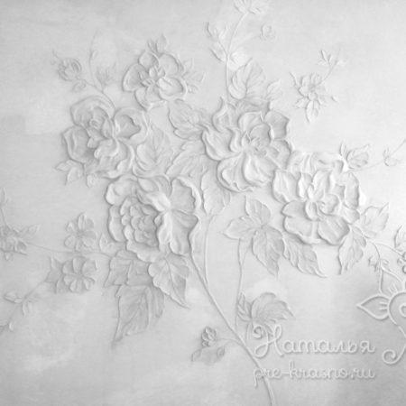 Барельеф Серебряные цветы