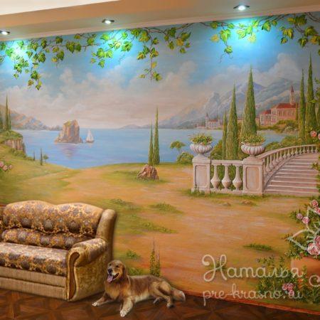 Объемная роспись стены Италия о. Капри