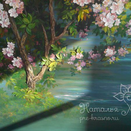 Яблоневый сад, объемная роспись стен