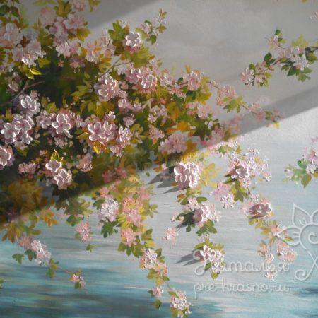 Яблоневый сад, объемная роспись стен. Барельеф цветущее дерево.
