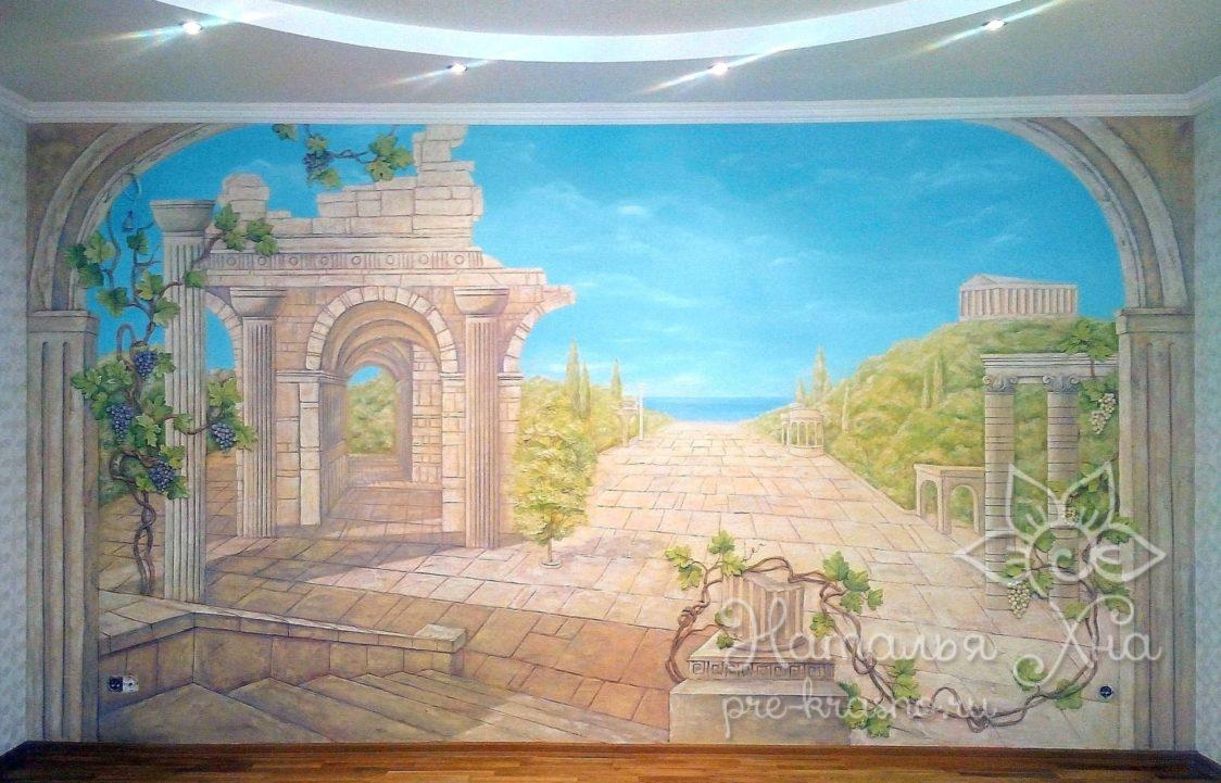 «Римские развалины» художественная лепная роспись в гостиной