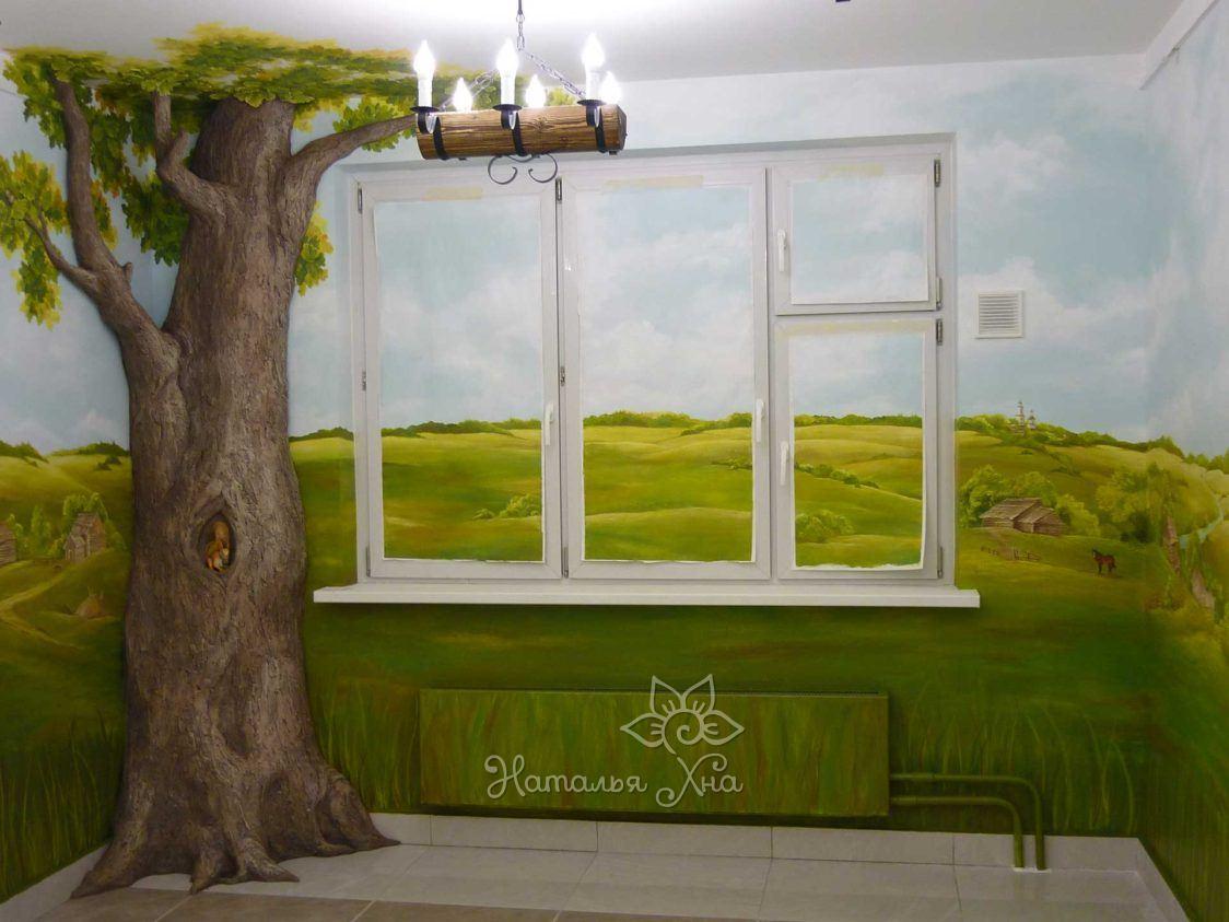 Барельеф дерево, роспись