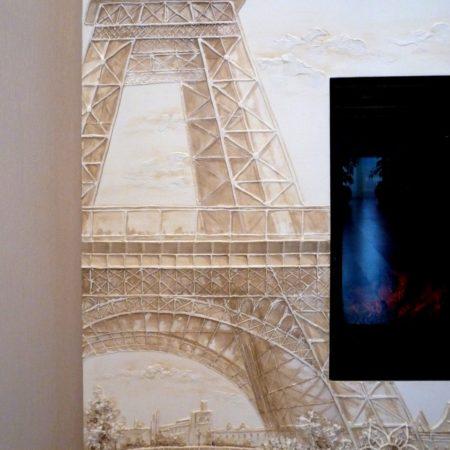 Париж, барельеф эйфелева башня на каминеПариж, барельеф на камине