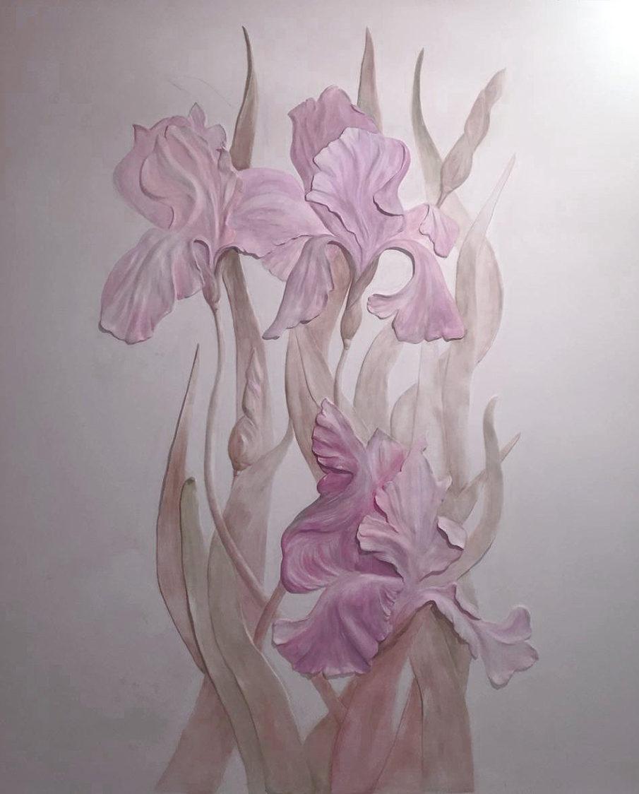 Барельеф цветы на обоях