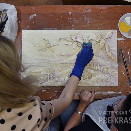 Галина Витальевна Чернова на мастерклассе у Натальи Хна по барельефу