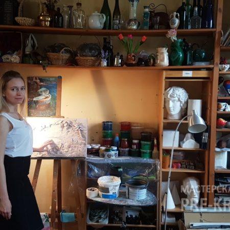 Наталья Хна на мастер-классе по созданию гипсового панно