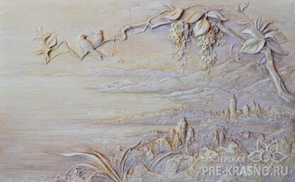 Гипсовое панно с росписью