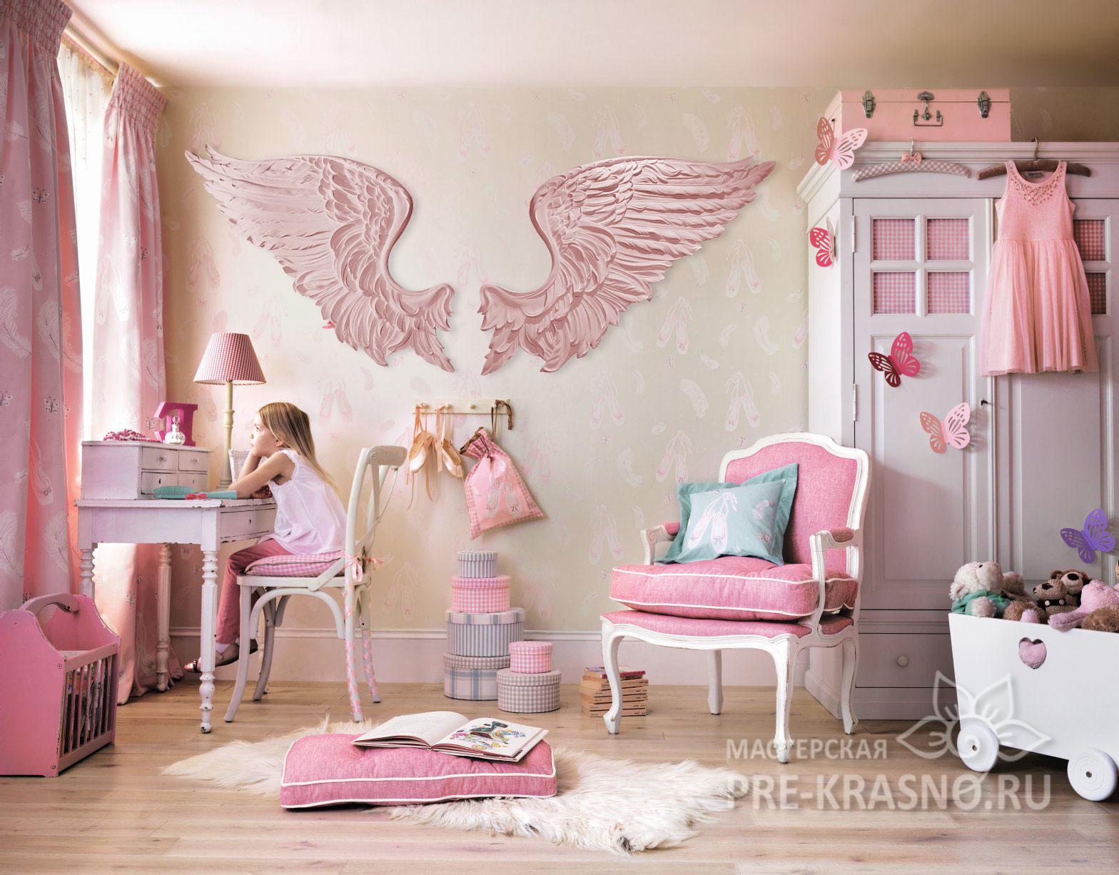 Декор для детской комнаты Ангельские крылья розовые