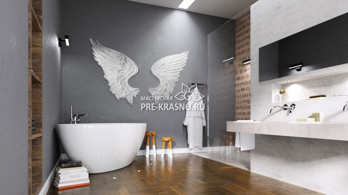 Барельеф Ангельские крылья в ванной