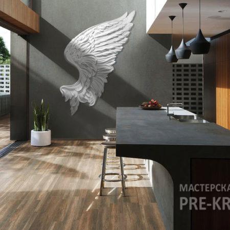 Гипсовое панно белое Крыло ангела на темной стене