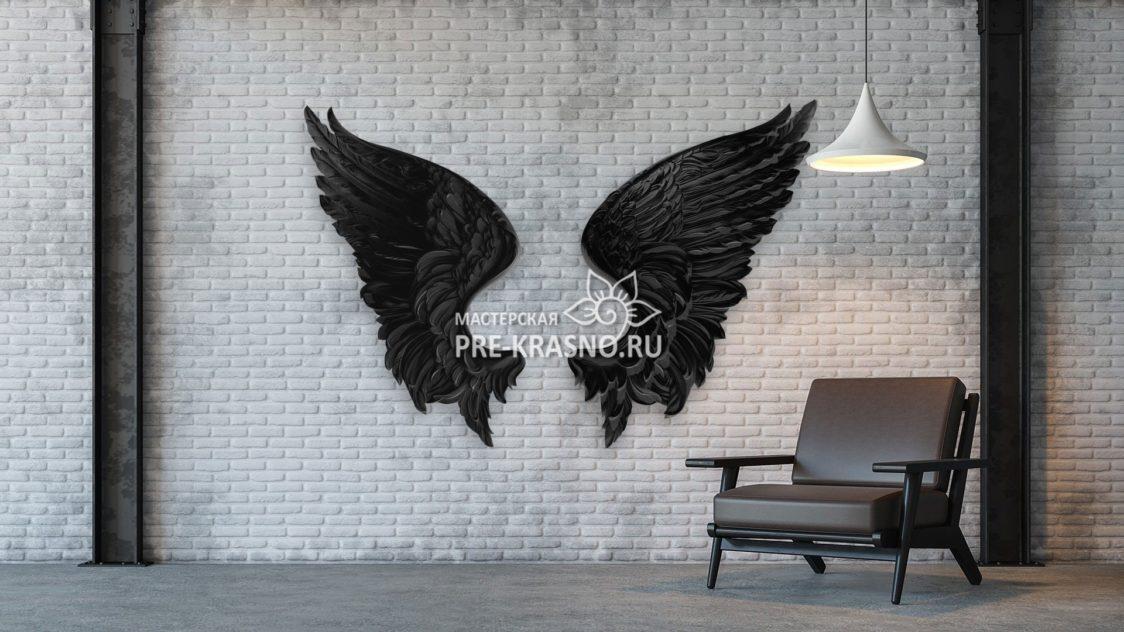 Черные крылья ангела, гипсовое панно
