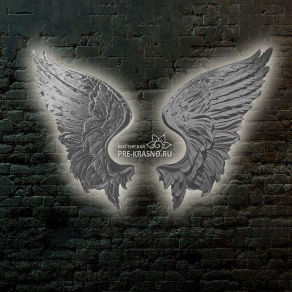 Белый барельеф Крылья с подсветкой