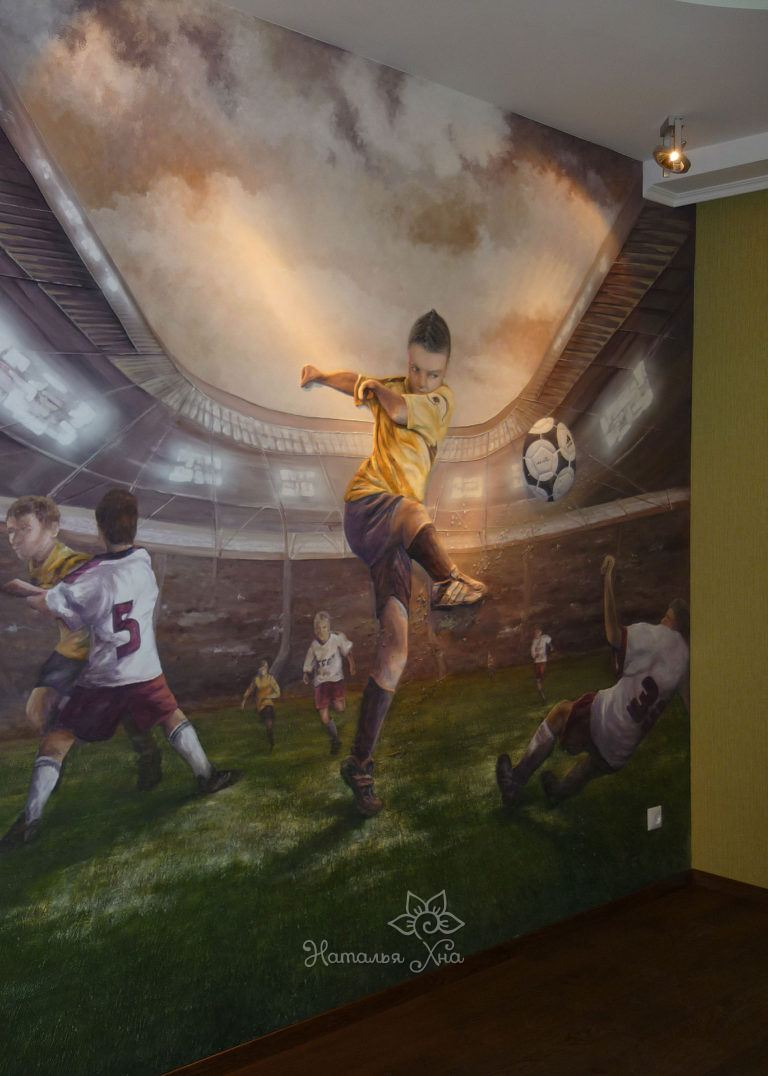 Барельеф в детской для мальчика, увлеченного футболом.