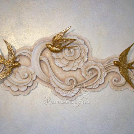 """""""Золотые ласточки"""". Гипсовые птицы декор на стену своими руками"""