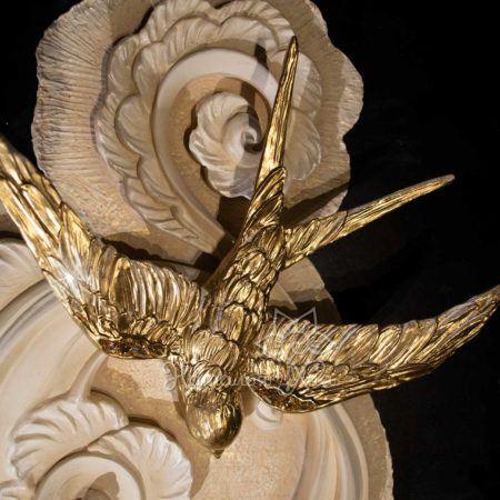 Декор птицы на стену объемные Золотые ласточки15