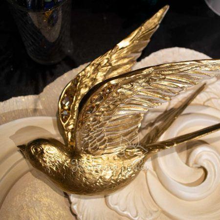 Декор птицы на стену объемные Золотые ласточки16
