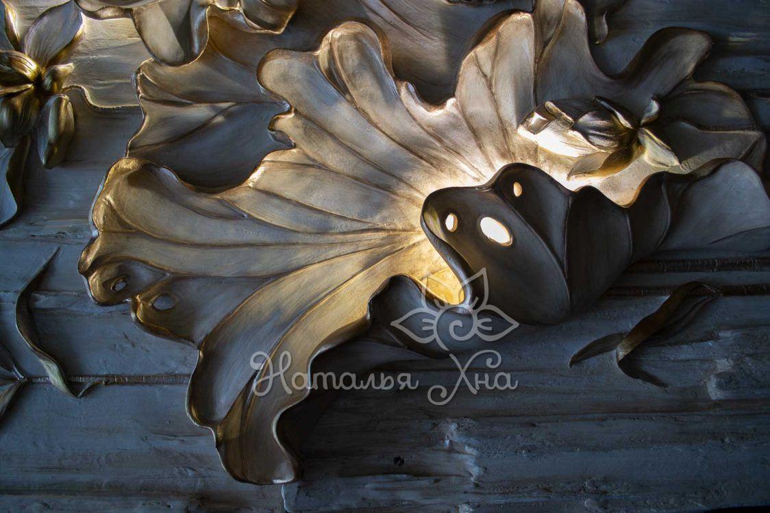 Водяная лилия барельеф-панно с подсветкой