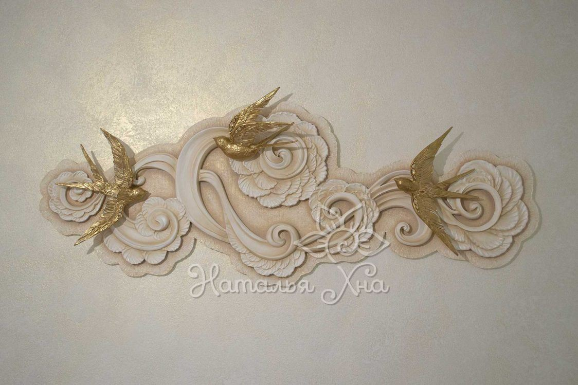 Золотые ласточки. Гипсовое панно с птицами на стену