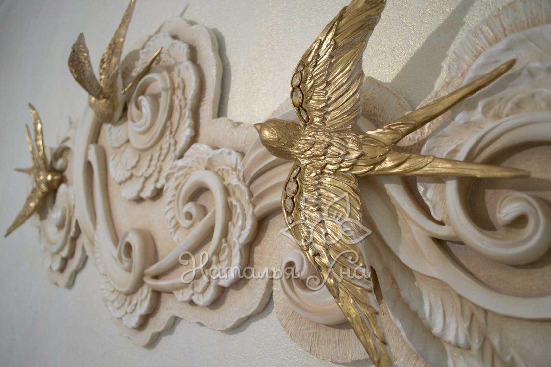 Гипсовые птицы декоративное панно