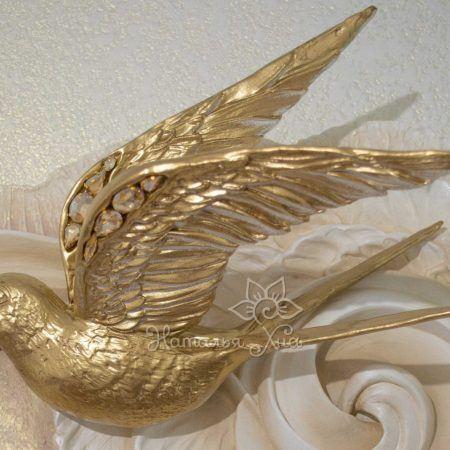 Золотые ласточки. Гипсовое панно с птицами на стену05