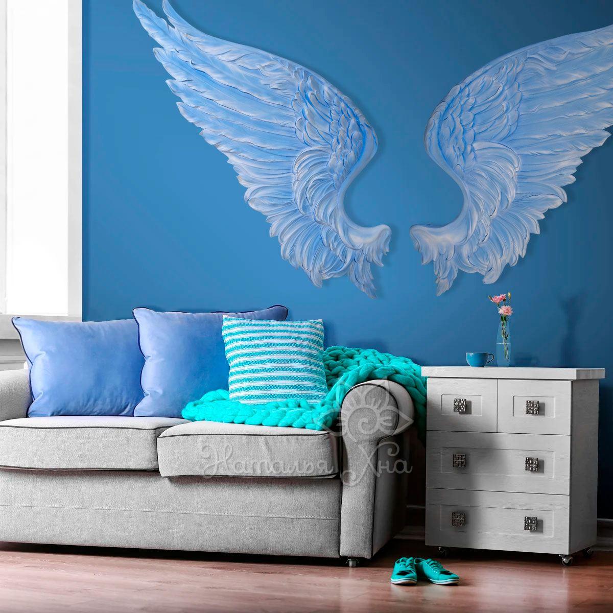 декор на стену крылья ангела голубого небесного цвета