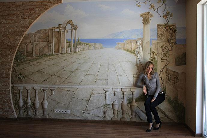 Автор Наталья Хна. Роспись стен без трафаретов