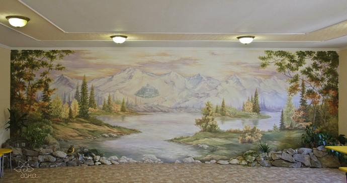 Роспись стен в квартире, спальне. Наталья Хна.